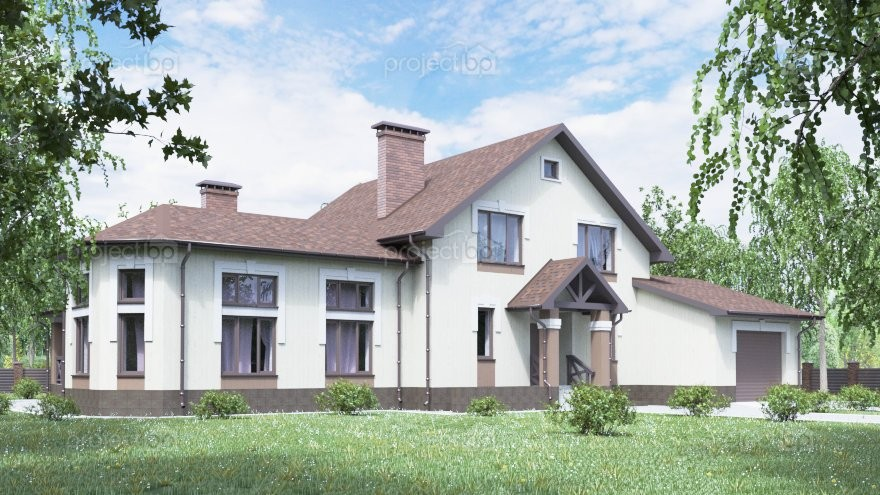 Проект большого дома с мансардой, гаражом и зоной барбекю 307-A